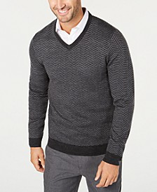 Men's Merino Wool V-Neck Herringbone Sweater, Created for Macy's