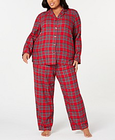 Matching Plus Size Brinkley Plaid Flannel Pajama Set, Created for Macy's