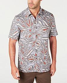 Men's Floral Print Short Sleeve Silk Shirt, Created for Macy's