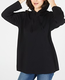 Eileen Fisher Organic Cotton Solid Black Hoodie, Regular & Petite