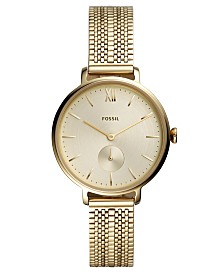Fossil Women's Kayla Gold-Tone Stainless Steel Mesh Bracelet Watch 36mm
