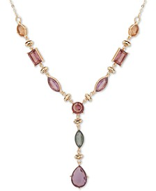 "Gold-Tone Multi-Stone Lariat Necklace, 16"" + 3"" extender"