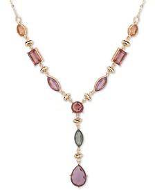 "Anne Klein Gold-Tone Multi-Stone Lariat Necklace, 16"" + 3"" extender"