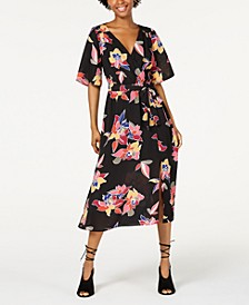 Juniors' Faux-Wrap Midi Dress