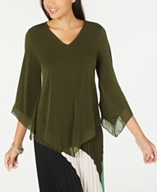 Alfani Chiffon-Trim V-Hem Top, Created for Macy's