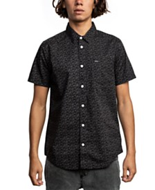 RVCA Men's Porcelain Floral-Print Pocket Shirt
