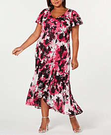 Alex Evenings Plus Size Printed High-Low Dress