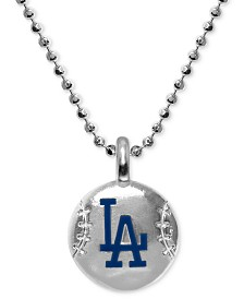 """Alex Woo Los Angeles Dodgers 16"""" Pendant Necklace in Sterling Silver"""