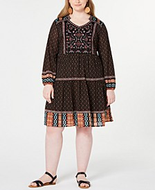 Mixed-Print Bubble-Sleeve Peasant Dress, Created for Macy's