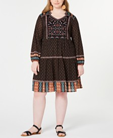 Style & Co Mixed-Print Bubble-Sleeve Peasant Dress, Created for Macy's