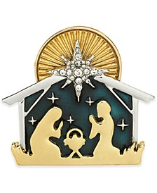 Gold-Tone Crystal & Epoxy Nativity Scene Pin, Created for Macy's