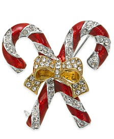 Holiday Lane Gold-Tone Crystal & Epoxy Candy Cane Pin, Created for Macy's