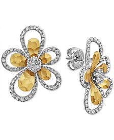EFFY® Diamond Flower Drop Earrings (1-1/3 ct. t.w.) in 14k Gold & White Gold