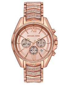 Michael Kors Women's Chronograph Whitney Rose Gold-Tone Stainless Steel Bracelet Watch 45mm