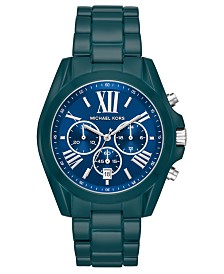 Michael Kors Women's Chronograph Bradshaw Teal Stainless Steel Bracelet Watch 43mm