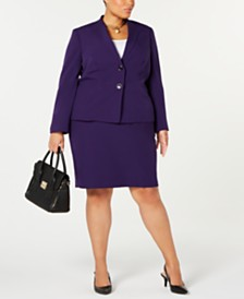 Le Suit Plus Size Wing-Collar Skirt Suit