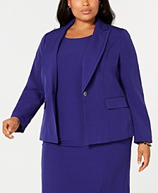 Plus Size Notch Collar Crepe Blazer