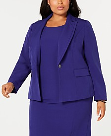 Kasper Plus Size Notch Collar Crepe Blazer