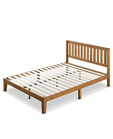 "Zinus Alexia 12"" Wood Platform Bed with Headboard, Rustic Pine Finish, King"