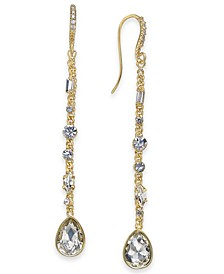 INC Gold-Tone Crystal Linear Drop Earrings, Created For Macy's