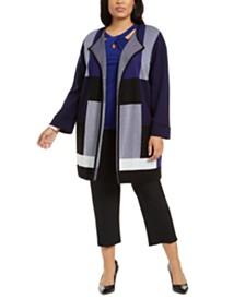 Kasper Plus Size Plaid Open-Front Cardigan