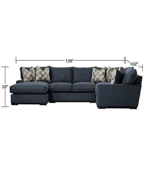 Swell Tuni 3 Pc Fabric Chaise Sectional Sofa With 2 Cushion Armless Loveseat Created For Macys Pdpeps Interior Chair Design Pdpepsorg