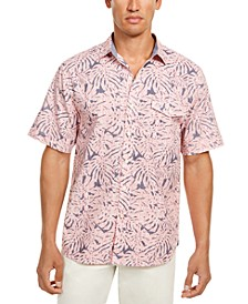 Men's Sun Coral Fronds Classic-Fit Tropical-Print Chambray Camp Shirt