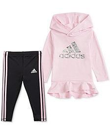 adidas Little Girls 2-Pc. Ruffled-Hem Hoodie & Tights Set