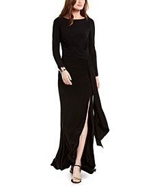Ruched Front-Slit Gown