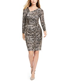Asymmetrical Snake-Print Bodycon Dress