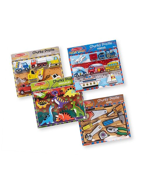 Melissa and Doug Chunky Puzzle Bundle Dinosaur, Construction, Tool and Vehicles