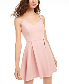 Juniors' Pleated Fit & Flare Dress