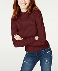 Juniors' Rib-Knit Mock-Turtleneck Sweater