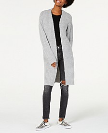 Juniors' Rib-Knit Boucle Duster Cardigan