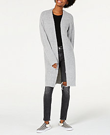 Hooked Up by IOT Juniors' Rib-Knit Boucle Duster Cardigan
