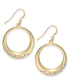 Charter Club Gold-Tone Crystal Circle Drop Earrings, Created for Macy's