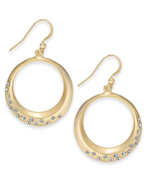 Macy's Charter Club Gold-Tone Crystal Circle Drop Earrings, Created for Macy's