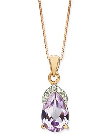 "Pink Amethyst (1-3/4 ct. t.w.) & Diamond (1/20 ct. t.w.) 18"" Pendant Necklace in 14k Rose Gold"