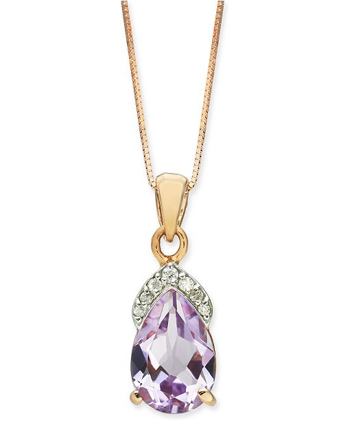 """Macy's Pink Amethyst (1-3/4 ct. t.w.) & Diamond (1/20 ct. t.w.) 18"""" Pendant Necklace in 14k Rose Gold"""