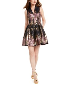 Vince Camuto Metallic V-Neck Fit & Flare Dress