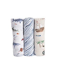 Little Unicorn Shark Cotton Muslin 3-Pack Swaddle Blanket Set