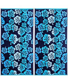 American Dawn Hibiscus Double Velour Jacquard Beach Towel 2 Piece Set