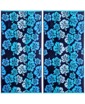 Image of American Dawn Hibiscus Double Velour Jacquard Beach Towel 2 Piece Set Bedding