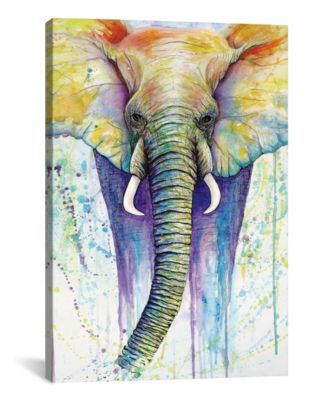 """Elephant Colors by Michelle Faber Wrapped Canvas Print - 40"""" x 26"""""""