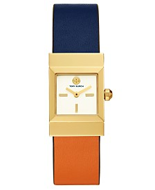 Tory Burch Women's Reversible Luggage Leather Strap Watch 23mm