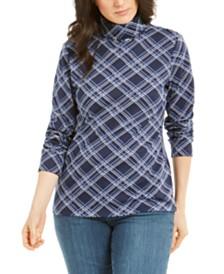 Karen Scott Plaid Turtleneck, Created for Macy's