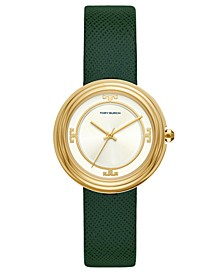 Women's Bailey Green Leather Strap Watch 34mm