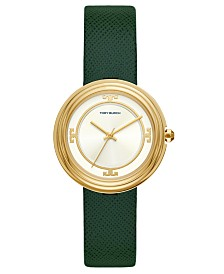 Tory Burch Women's Bailey Green Leather Strap Watch 34mm