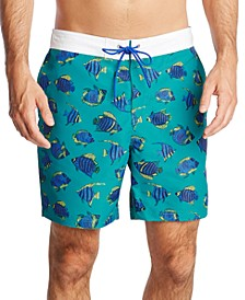 "Men's Blue Sail Fish Print 8"" Swim Trunks, Created for Macy's"