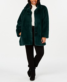 Calvin Klein Plus Size Faux-Fur Coat